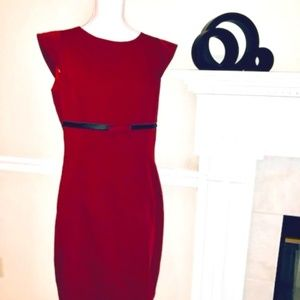 Maroon Dress w/Black Trim Detail & Bow